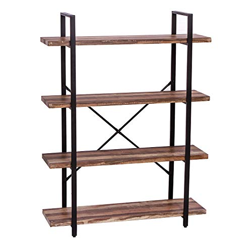IRONCK Bookshelf and Bookcase 4-Tier, 130lbs/shelf Load Capacity, Industrial Bookshelves Storage Display Shelves, Home Office Furniture, Wood and Metal ()