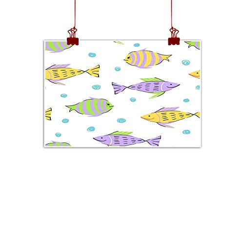 Modern frameless painting Fish simple sketh drawn by hand seamless pattern in cartoon style For wallpapers web background textile wrapping fabric kids design Modern frameless painting 28