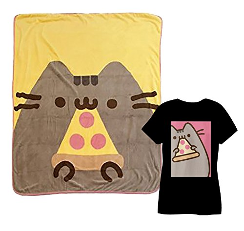 Pusheen Eating Pizza Throw Blanket and Pusheen Eating Pizza T-shirt Junior Size Small