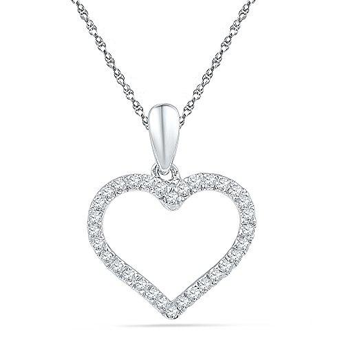 10KT White Gold Round Diamond Heart Pendant (1/10 cttw)