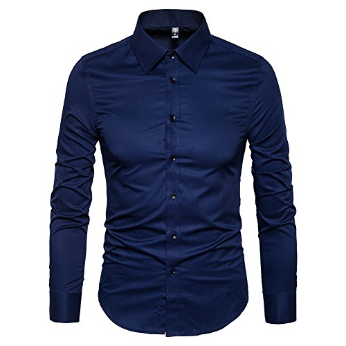 (Manwan walk Men's Slim Fit Business Casual Cotton Long Sleeves Solid Button Down Dress Shirts (x-Large, Navy Blue))