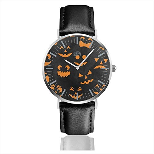 (Watch Orange Halloween Pumpkin Cat Amazing Wrist Watches Quartz Stainless Steel and PU Leather for Unisex)