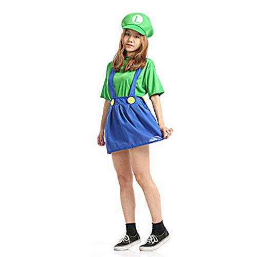 Women Super Mario Costume Cosplay for Teens Children Kid Mario/Luigi Fancy Outfits Dress Up Party Costume -
