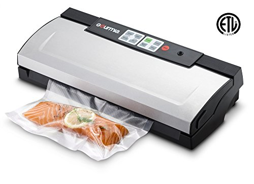 Automatic Stainless Steel Freezer - Gourmia GVS435 - Stainless Steel Vacuum Sealer - Preserve & Store Food or Vacuum for Sous Vide, 8 Versatile Function - Cannister Compatible, Includes Vacuum Seeler Bags & Knife -110V