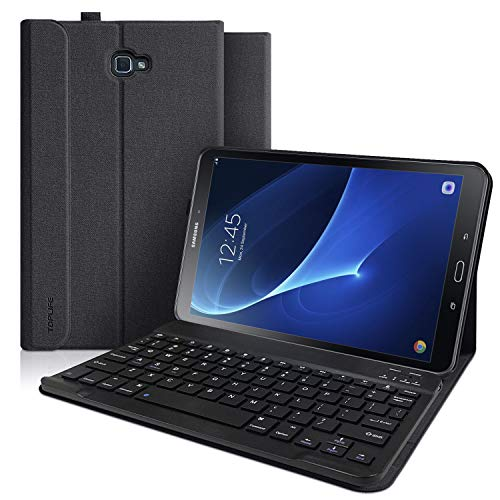 (Keyboard Case for Samsung Galaxy Tab A 10.1 Model SM-T580/T585/T587, Slim Cover, Smart Auto Sleep-Wake with Detachable Wireless Bluetooth Keyboard (No S Pen) Andriod Tablet (Black))