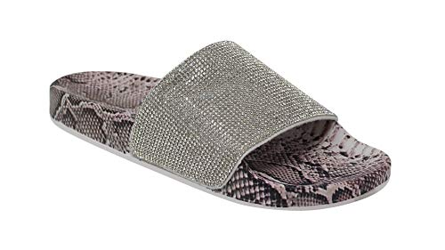 Wild Diva Women's Slides Rhinestone Glitter Sandals, Snake Skin Print, 8 B(M) (Diva Snake)