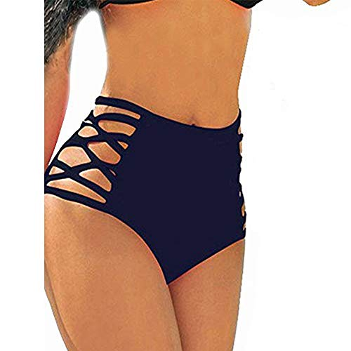 (CROSS1946 Sexy Women's Bikini Retro High Waisted Strappy Brief Bottom Solid Tankini Swimsuit S)