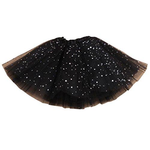 Csbks Girls Sparkle Layered Tulle Tutu Skirt Princess Ballet Dance Mini Tutus Black (Star Mini Big Skirt)