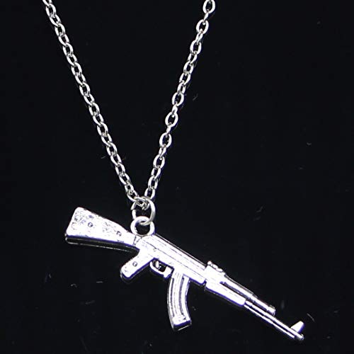 Fashion Necklace 44x15mm Machine Gun Assault Rifle Ak-47 Silver Pendants Short Long Women Men Gift Jewelry Choker 50 Cm