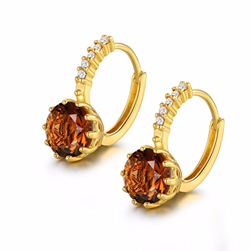 Na Na nubngern 24k Yellow Gold Filled Round Cut Smoky 9mm Topaz Hoop leverback Party Earring (White Gold Cz Leverback Earrings)