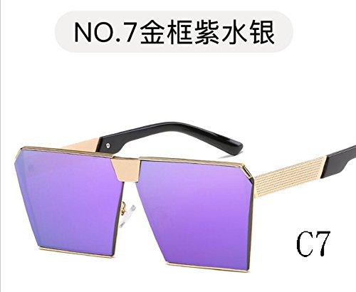 Reborde De Azul Hombre TIANLIANG04 Escudo C4 Gafas Metal Mujer C7 Lentes Purple Estructura Espectáculo Sol Inusual Hexagonal 2323 Único Color Sobredimensionado De 2323 dfnnXwH