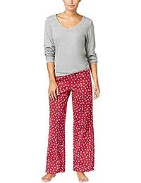 Womens Knit Solid Top and Printed Pants Pajama Set