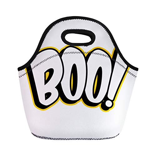 Semtomn Neoprene Lunch Tote Bag Scary Boo Sign Black Celebration Greeting Halloween Holiday White Reusable Cooler Bags Insulated Thermal Picnic Handbag for Travel,School,Outdoors,Work ()