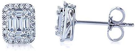 Kobelli Diamond Baguette Cluster Stud Earrings 10k Gold