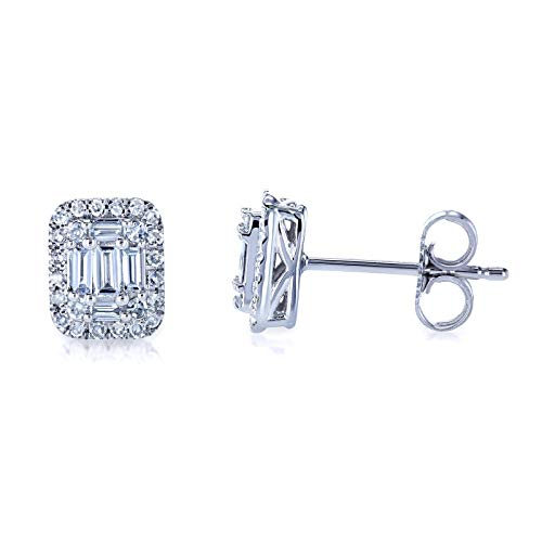 Diamond Baguette Cluster Stud Earrings 10k Gold ()