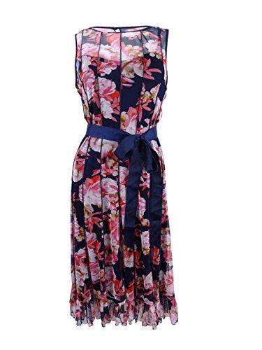 Jessica Howard Women's Pintucked Floral-Print Sash Dress (8, Navy/Multi)