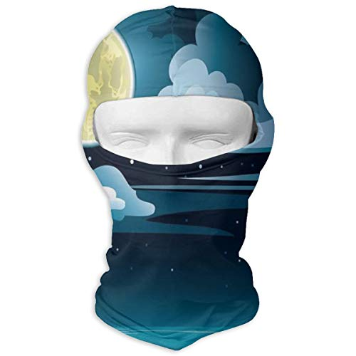Xuforget Night Clouds Full Moon and Stars Over The Sea Man & Women Balaclavas Full Face Mask Hood White