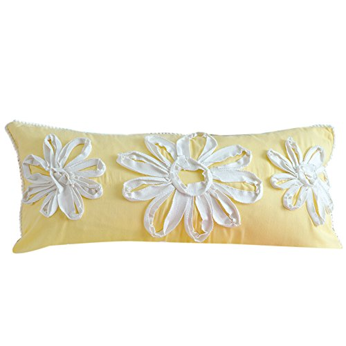 Yellow Ribbon Flower Pillow