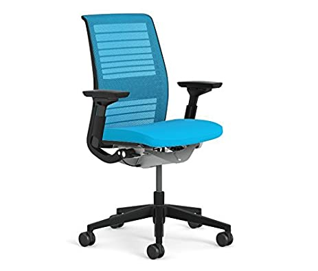 steelcase think office chair. Steelcase Think 3D Knit Office Desk Chair Black Frame Fixed Arms - Lumbar Support