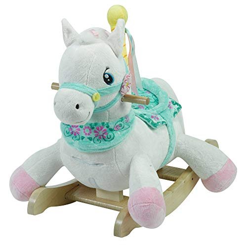Furniture Baby Rockabye (Carousel Horse | Horse Plush Butterfly Baby Toy with Wooden Rocking Chiar Horse/Kid Rocking Toy/Baby Rocking Horse/Rocker/Animal Ride)