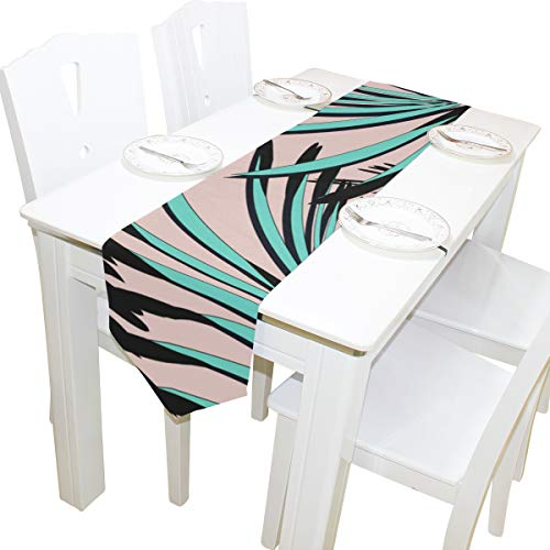 Table Cover Palm Green Leaf Modern Table Runner