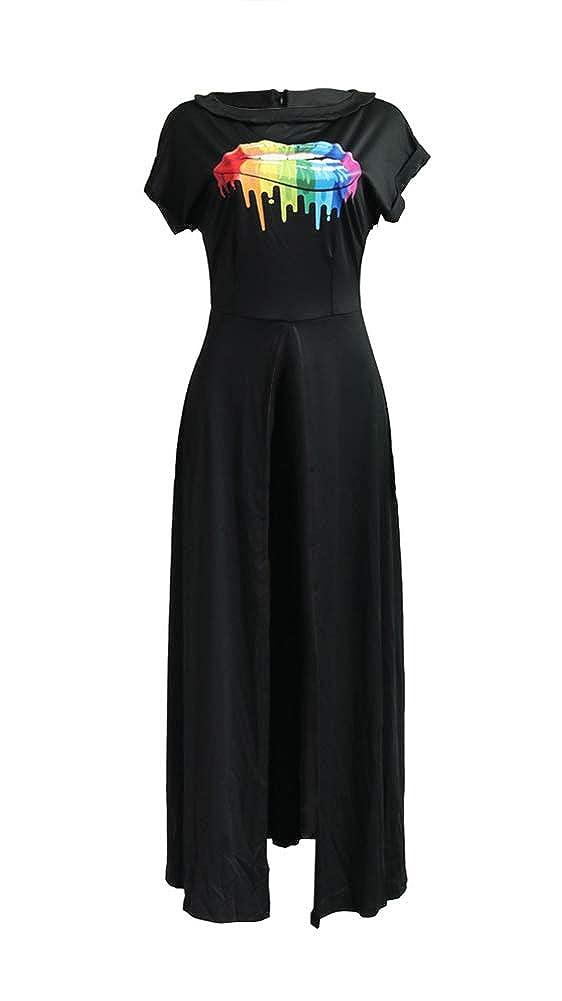 Womens Casual Rainbow Print Boat Neck Roll Sleeve Zipper Party Club Satin High Split Blouse Long Maxi Shirt Dress