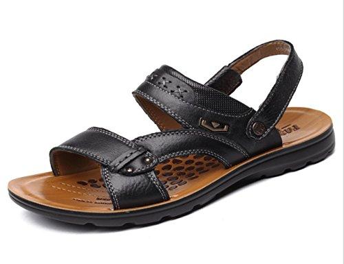 YCMDM di New spiaggia degli uomini Scarpe marea sandali freddi Sabbia Trascinare scarpe in pelle traspirante Sandali Casual , black , 40