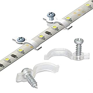 Griver 100 Pack Strip Light Mounting Brackets,Fixing Clips,One-Side Fixing,100 Screws Included (Ideal for 10mm Wide Waterproof Strip Lights)