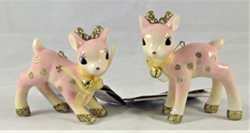 Target 2018 Retro Pink and Gold Glitter Fawn Deer Wondershop Christmas Ornaments, Bundle of 2