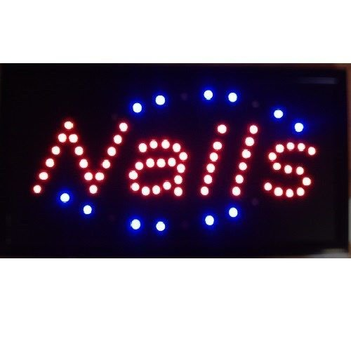 UbiGear 10 * 19 inch Animated Motion LED Business SPA Nails Sign On / off Switch Salon Light Open Shop