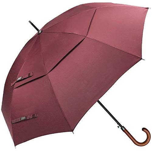 G4Free Wooden Hook Handle Classic Golf Umbrella Windproof Auto Open 62 inch Large Oversized Double Canopy Vented Rainproof Cane Stick Umbrellas Men Women(Wine Red)