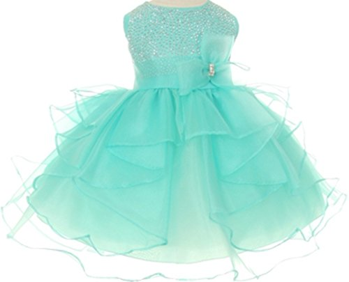 Flower Girl Dress Stud Top Multiple Layer Organza Skirt for Baby & Infant Aqua 12M CH.