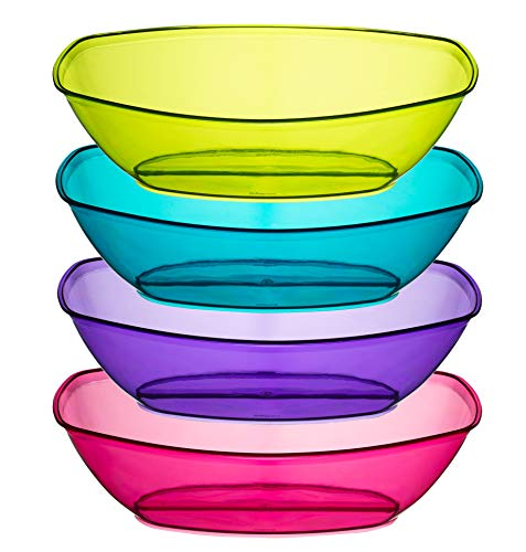 - Plastic Contoured Serving Bowls,-4 Pack, Party Snack or Salad Bowl, 80-Ounce, Assorted Colors