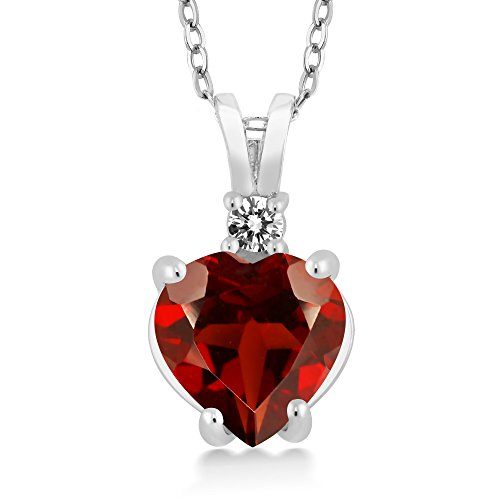 Gem Stone King 14K White Gold Heart Pendant set with 2.07 Ct Red Garnet & White Diamond