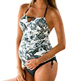 Hot Maternity Sexy Split Swimsuit Women Floral Print Bikinis Side Tied Bikini Beachwear Pregnant Suit (S-3XL) (White, 3XL)