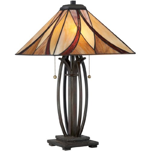 Plow Hearth Small Vintage Tiffany Style Stained Glass Red Cardinal Accent Table Lamp 7 L x 4.5 W x 11 H