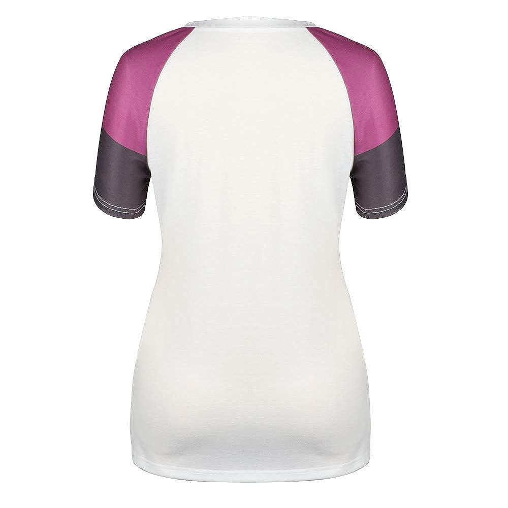 Misaky Womens Short Sleeve Blouse Fashion Loose Splice O-Neck Casual T-Shirt Tops