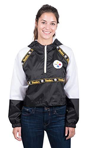 NFL Pittsburgh Steelers Women's Quarter Zip Hoodie Windbreaker Play Action Jacket, X-Large, Black