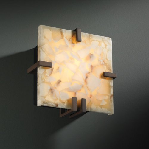 Justice Design ALR-5550-NCKL Clips Square Wall Sconce (ADA), Choose Finish: Brushed Nickel Finish, Choose Lamping Option: Standard Lamping (Clips Square 5550)