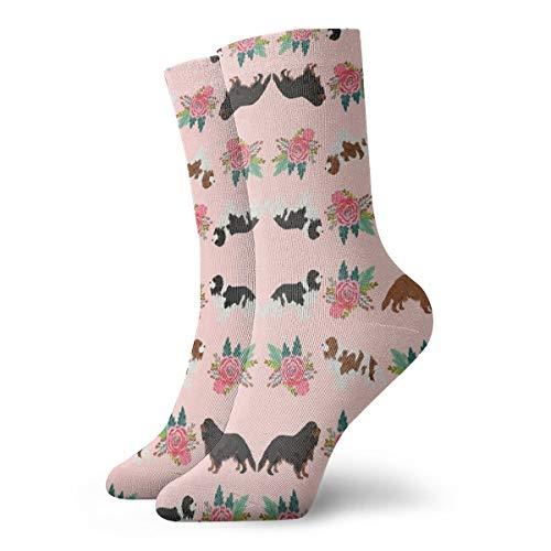 Non-Slide Compression Crew Sock, Cavalier King Charles Spaniel Pink Florals Floral, Running Football Teens Sock, Metical Sock