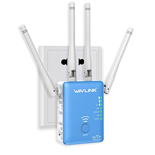 AC1200 WiFi Range Extender – Wavlink Dual Band Wireless Signal Booster/Repeater/Access Point/Router with 2 Ethernet Port / External Antenna-Blue