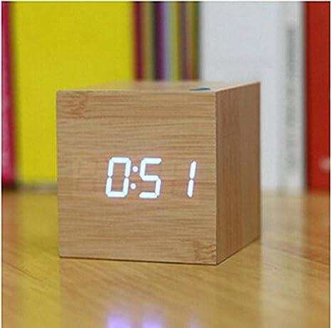KHSKX LED creativa, reloj de madera activada por voz, reloj despertador luminoso, reloj digital, arte Bell y reloj digital retro, blue: Amazon.es: Hogar