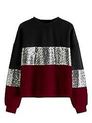 Multicolor#1 Colorblock Contrast Sequin Long Sleeve Sweatshirt