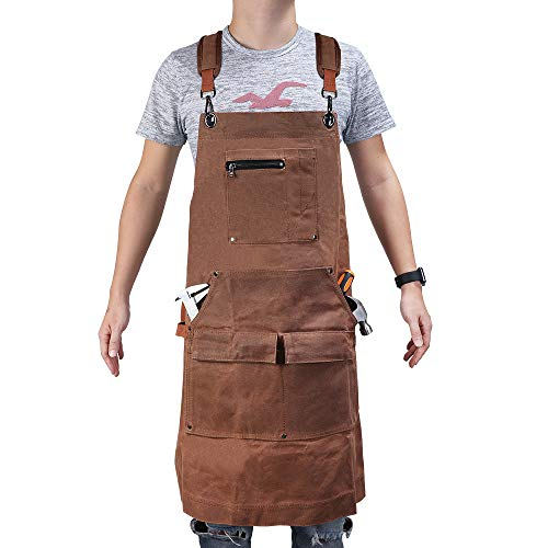 (E-Gtong Waxed Canvas Tool Apron, Heavy Duty Waterproof Work Apron with Tool Pockets, Padded Shoulder, Quick Relese Buckle and 2 Hammer Loops, Adjustable Workshop Apron up to XXL for Men & Women, Brown)