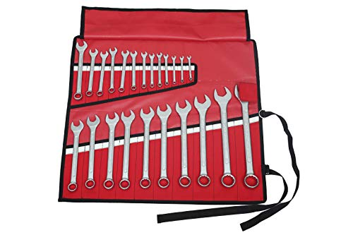 23 Pocket Wrench Roll Up Pouch, Tool Organizer Bag, Must For Stanley Craftsman, Easy Grip, Handcrafted, Portable Storage, PVC Laminated Waterproof Ballistic Polyester Oxford Canvas - Red, 23P01