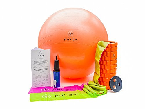 PHYSX All in One Physical Therapy Kit ● Foam Roller ● 2 6ft High Strength Resistance Bands ● Anti Burst 65cm Exercise Ball with Pump ● Free 3 Phase Rehab Prgrm included ● 100% Money Back Guarantee