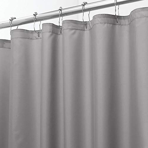 mDesign Extra Wide Water Repellent, Mildew Resistant, Heavy Duty Flat Weave Fabric Shower Curtain, Liner - Weighted Bottom Hem - for Shower and Bathtub - 108