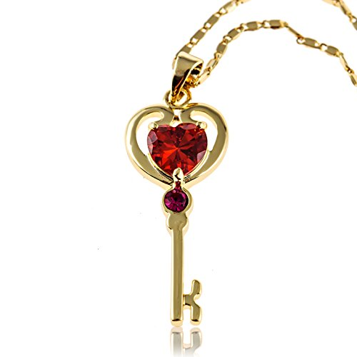Key-Heart-Pendant-Necklace-with-Created-Red-Ruby-18K-Gold-Plated-Jewelry-Gift-for-Women