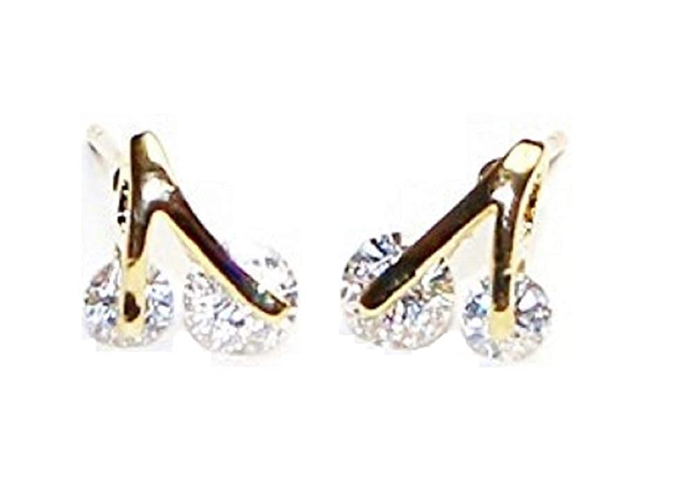 Buyless Fashion Surgical Steel Rhodium Plated Cerry Two Stone Cubic Zirconia Birthstone Earrings