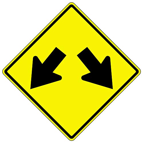 Arrow Double Sign (MUTCD W12-1 Double-Arrow Sign,3M Reflective Sheeting,Highest Gauge Aluminum,Laminated,UV Protected(3M High Intensity Prismatic Hip/.080 Highest Grade Aluminum,18